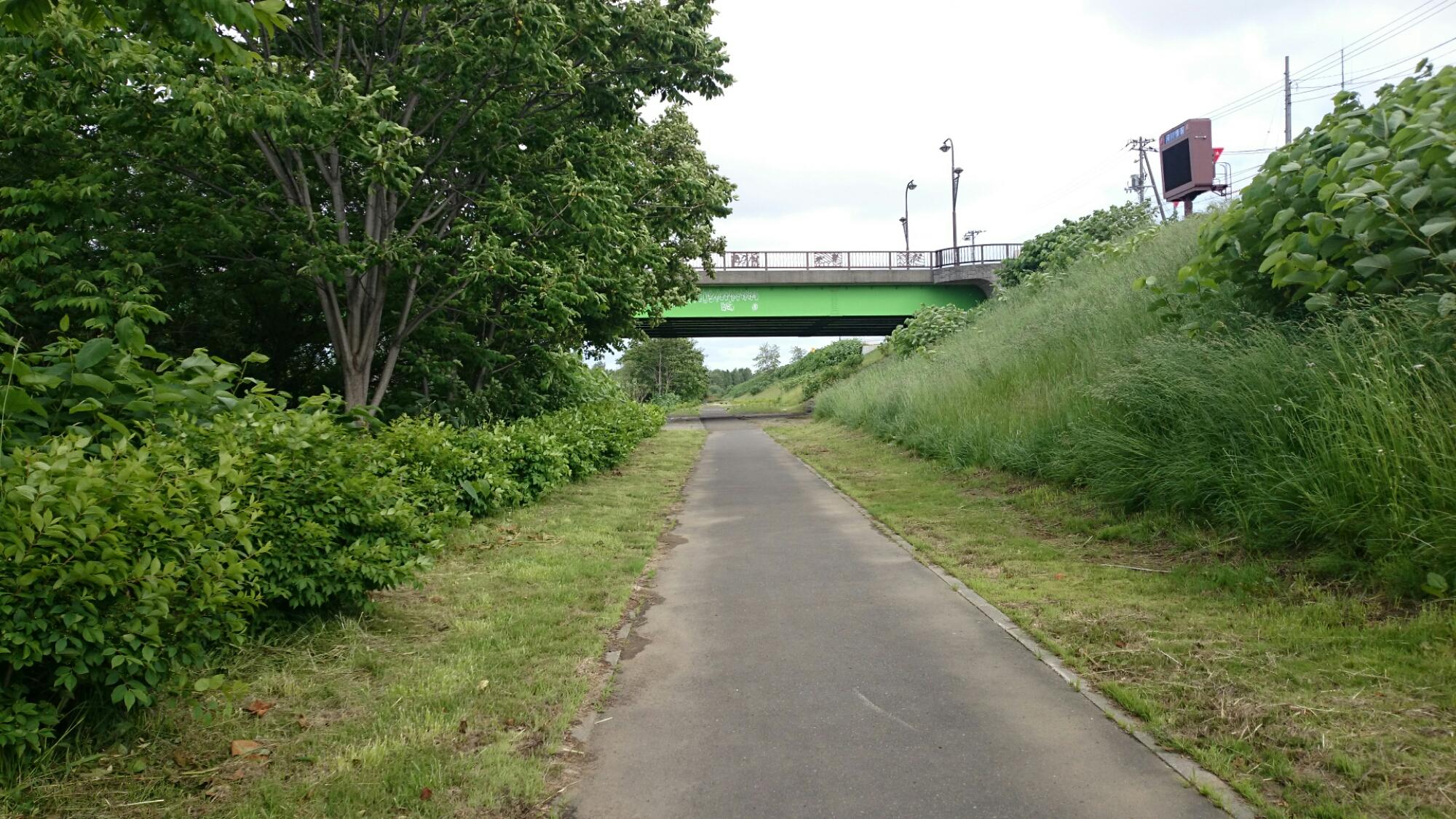 札幌市内 川の隣の歩行者専用道路
