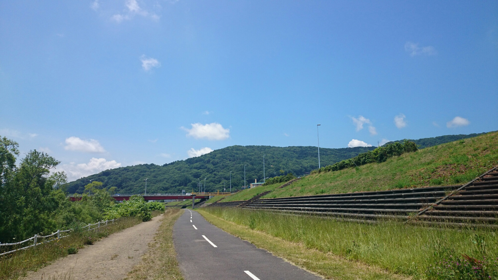 豊平川サイクリングロード。クロスバイクCYLVA F24でサイクリング