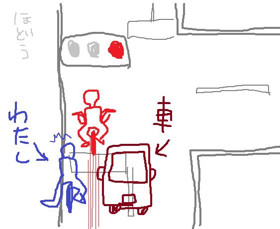 T字路の直進部分で、信号無視をする自転車は多い