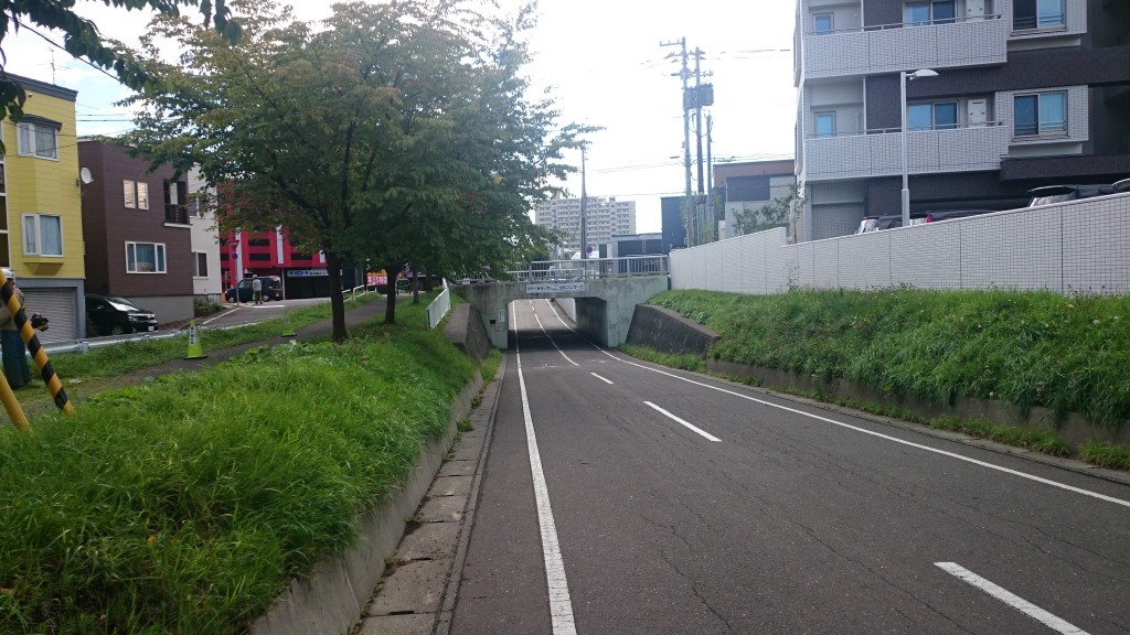 白石こころーどの様子。車道との交差する箇所は下を通る